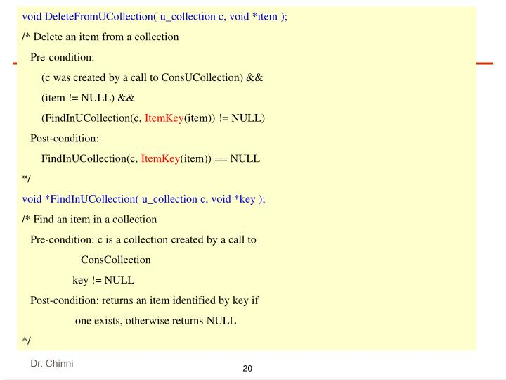 void DeleteFromUCollection( u_collection c, void *item );