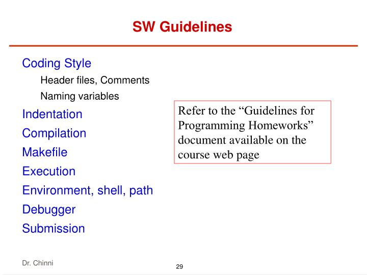 SW Guidelines