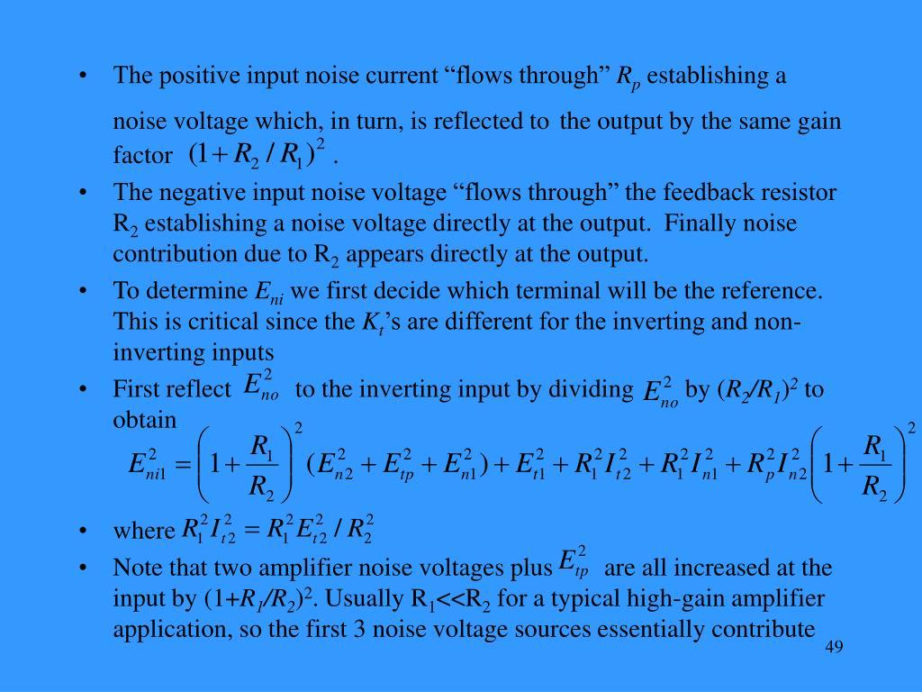 "The positive input noise current ""flows through"""