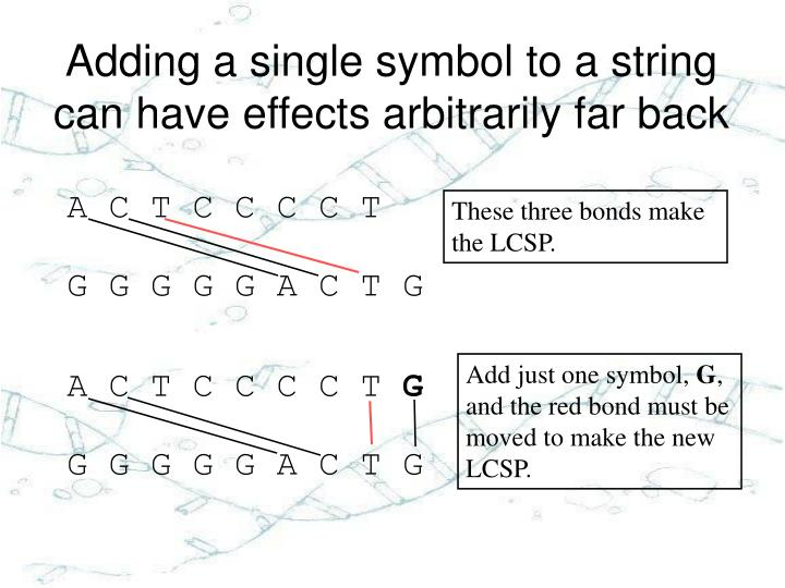 Adding a single symbol to a string can have effects arbitrarily far back