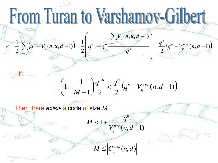 From Turan to Varshamov-Gilbert
