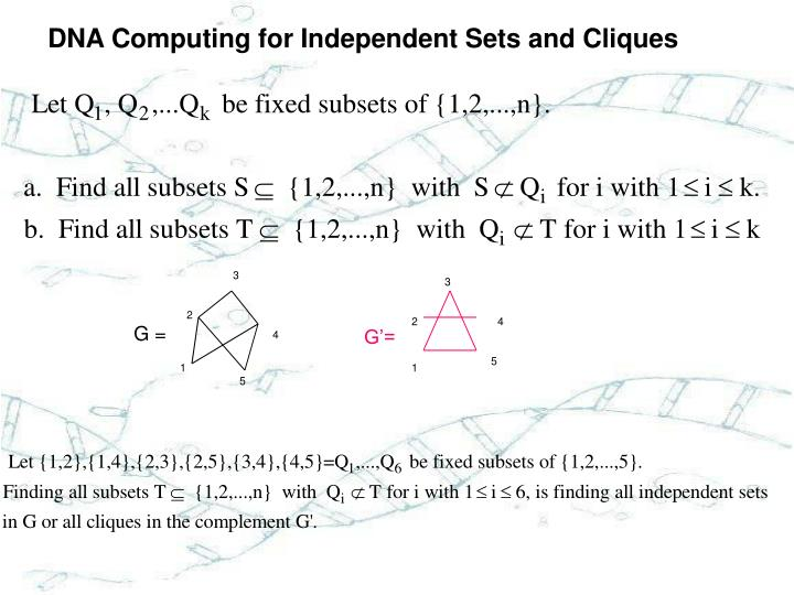 DNA Computing for Independent Sets and Cliques