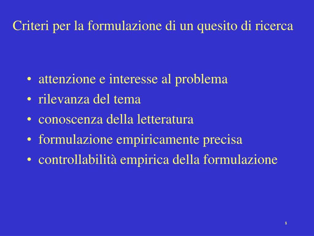 criteri per la formulazione di un quesito di ricerca l.