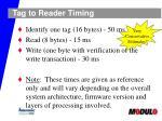 tag to reader timing