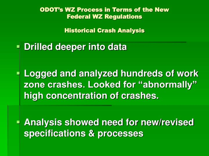 ODOT's WZ Process in Terms of the New Federal WZ Regulations
