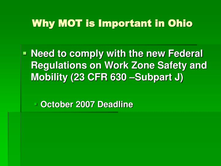 Why MOT is Important in Ohio