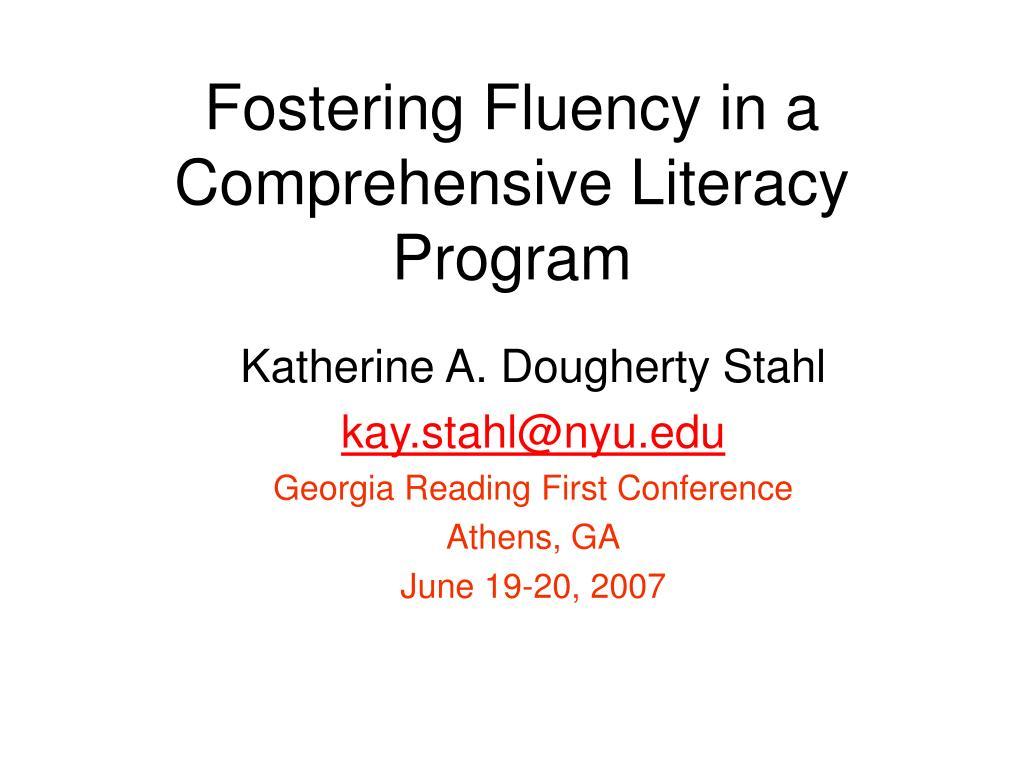 fostering fluency in a comprehensive literacy program l.