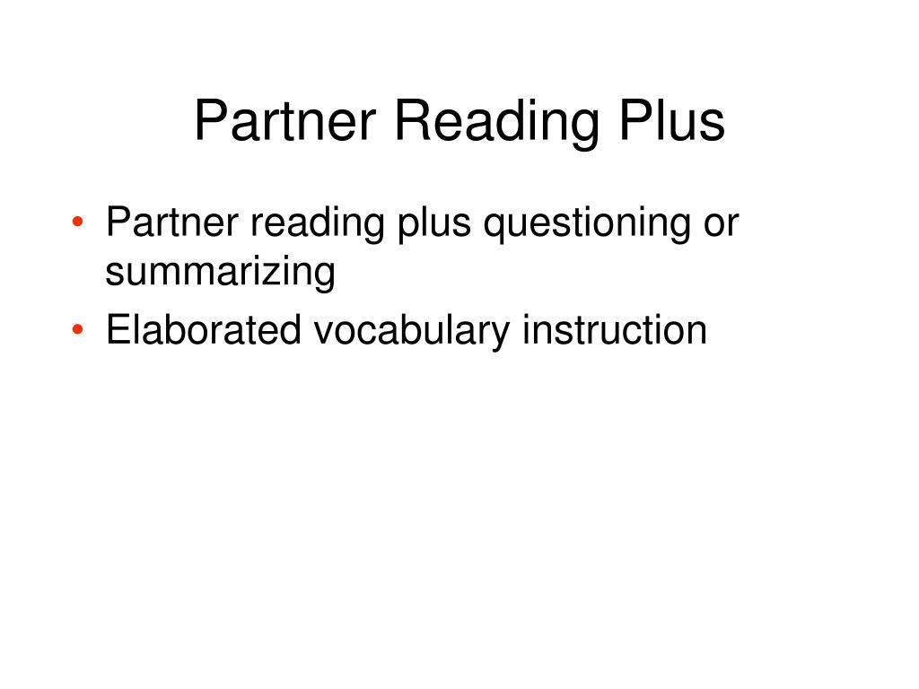 Partner Reading Plus
