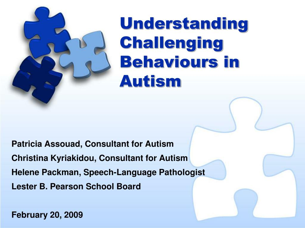 understanding challenging behaviours in autism l.