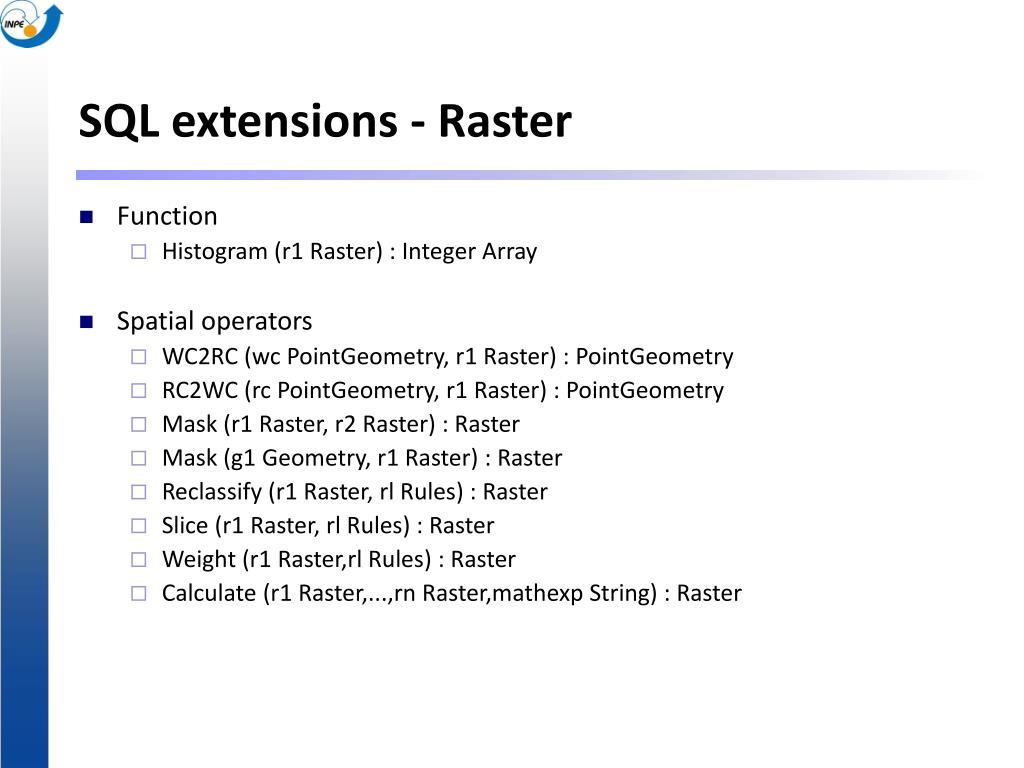 SQL extensions - Raster