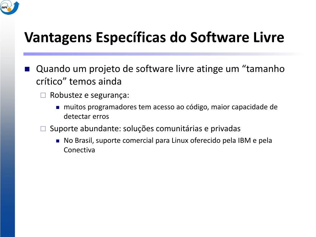 Vantagens Específicas do Software Livre
