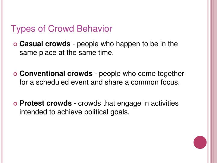 Types of Crowd Behavior