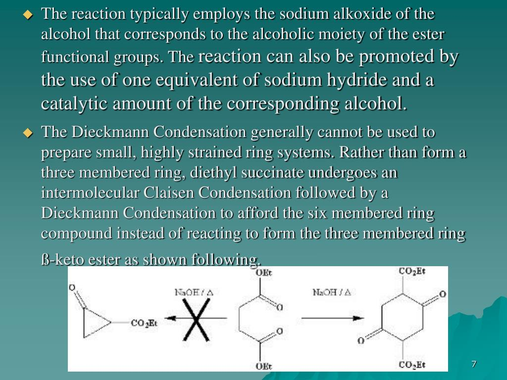 The reaction typically employs the sodium alkoxide of the alcohol that corresponds to the alcoholic moiety of the ester functional groups. The