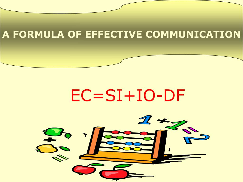 A FORMULA OF EFFECTIVE COMMUNICATION
