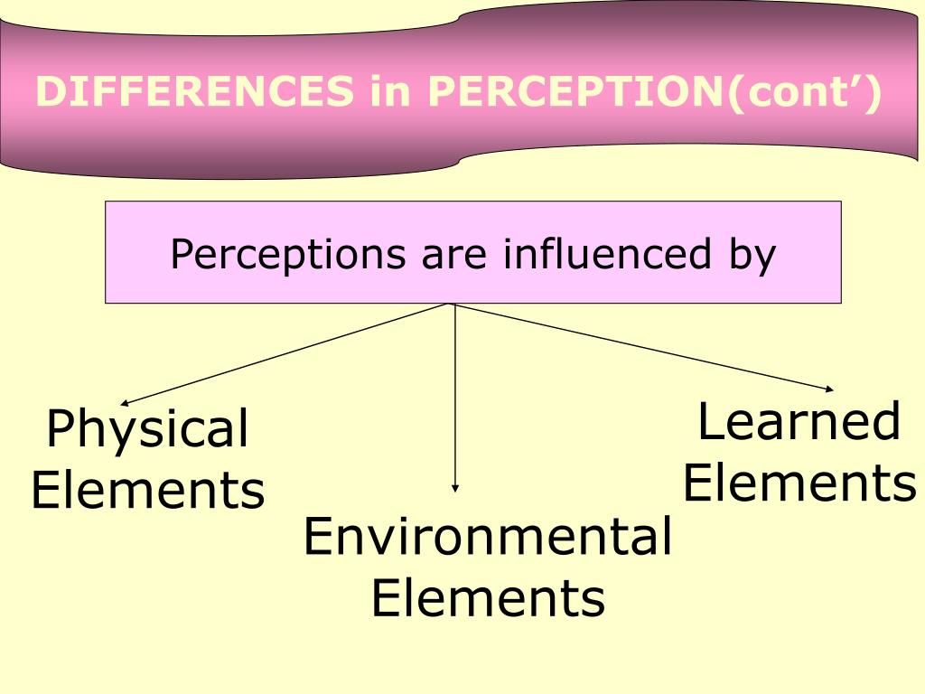DIFFERENCES in PERCEPTION(cont')