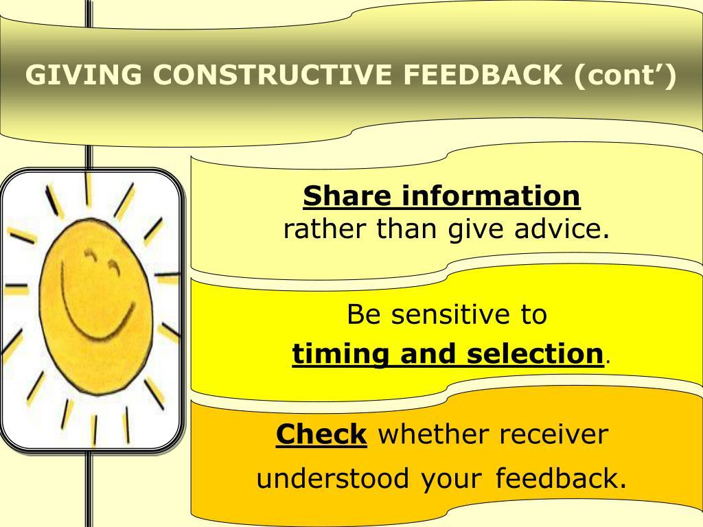 GIVING CONSTRUCTIVE FEEDBACK (cont')