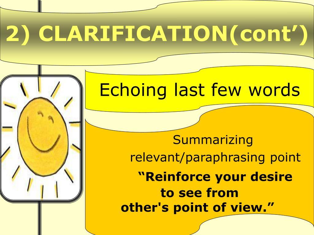 2) CLARIFICATION(cont')
