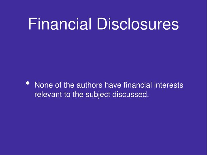 Financial disclosures