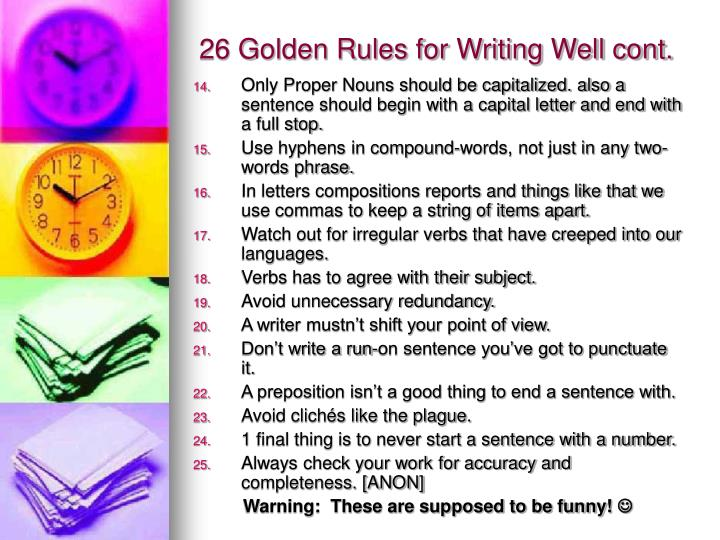 26 golden rules for writing well cont