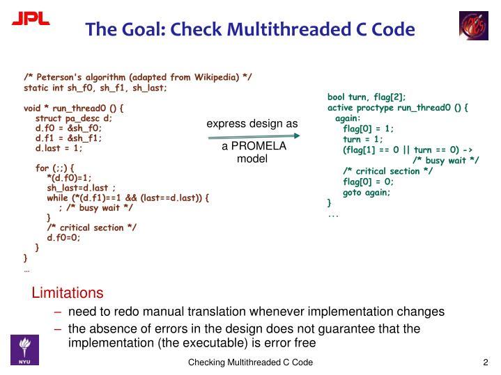 The goal check multithreaded c code