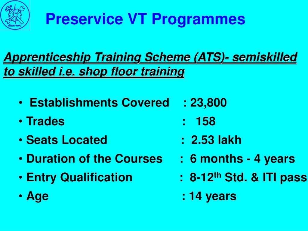 Preservice VT Programmes