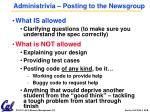administrivia posting to the newsgroup