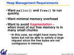 heap management requirements
