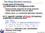 the heap dynamic memory