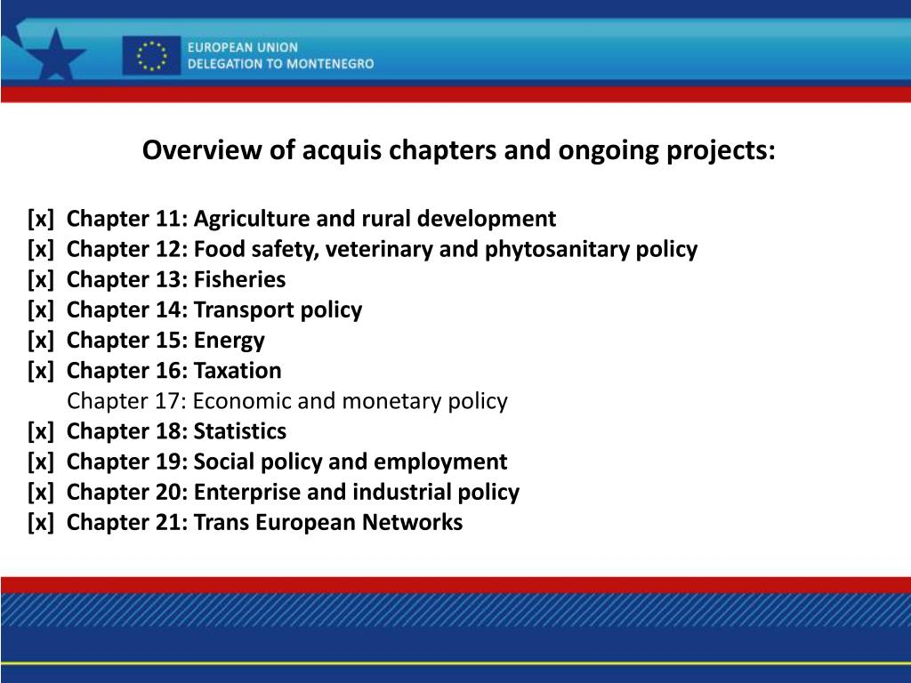 Overview of acquis chapters and ongoing projects: