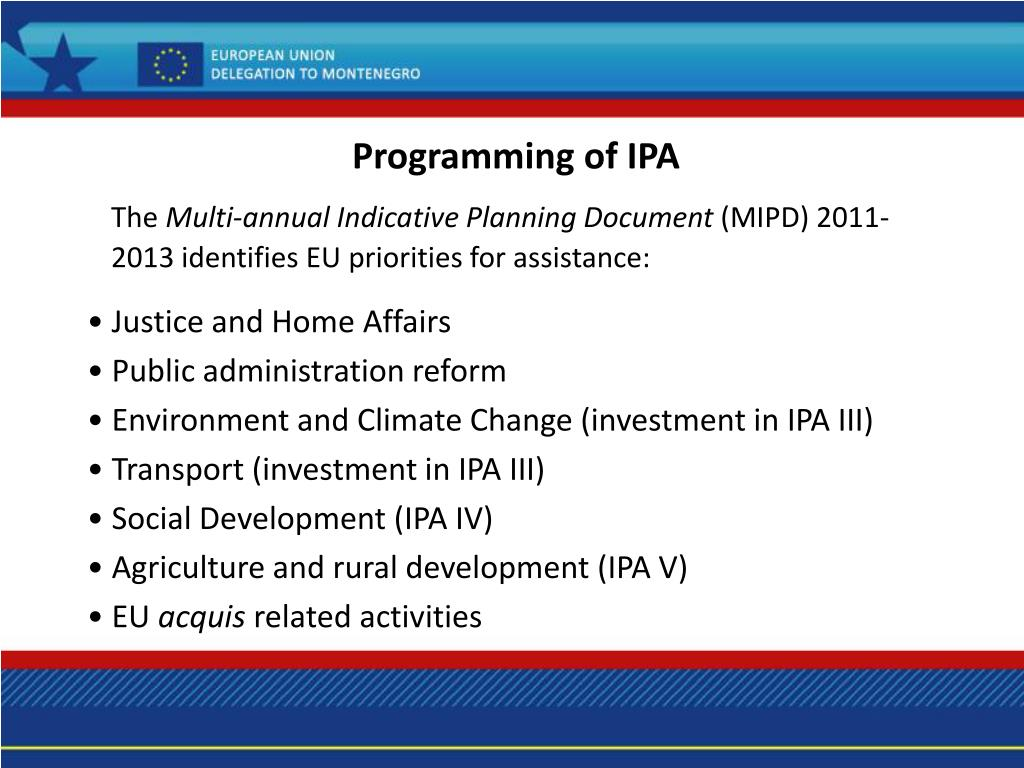 Programming of IPA