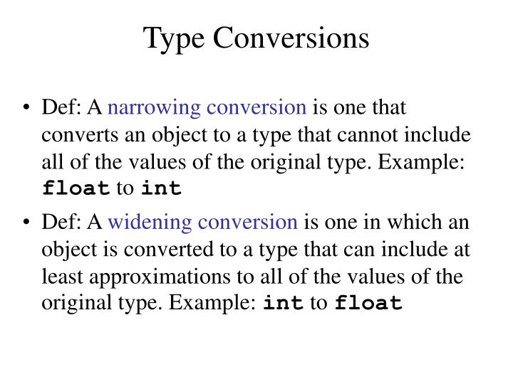 Type Conversions
