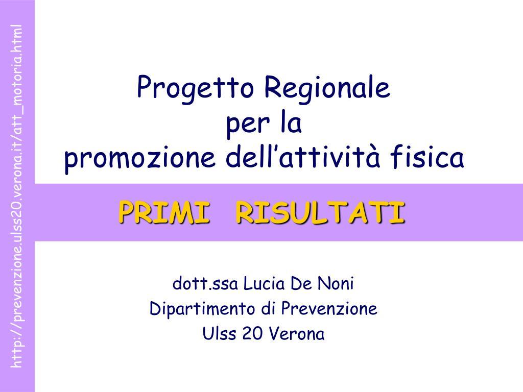 progetto regionale per la promozione dell attivit fisica l.