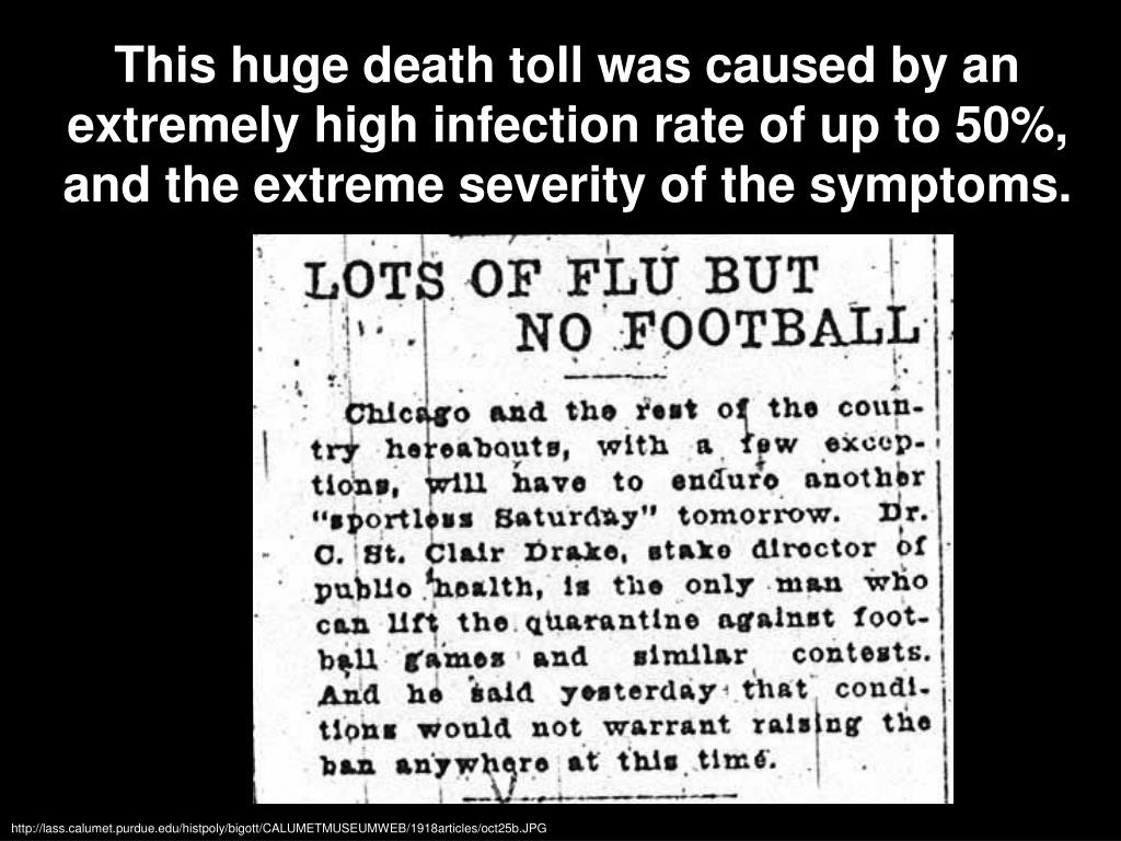 This huge death toll was caused by an extremely high infection rate of up to 50%, and the extreme severity of the symptoms.