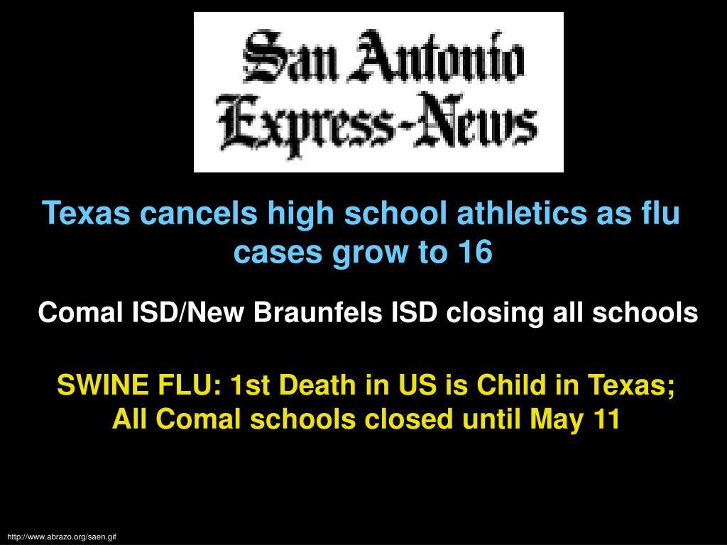 Texas cancels high school athletics as flu