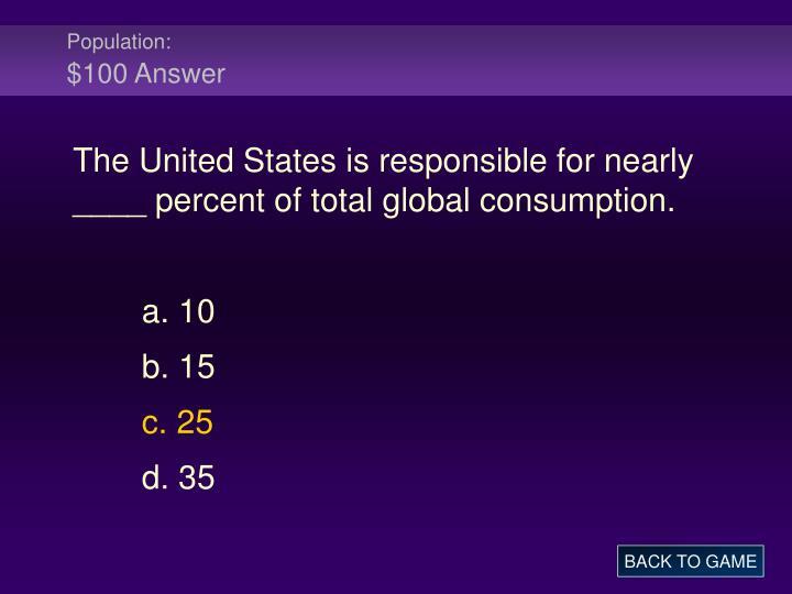 Population 100 answer