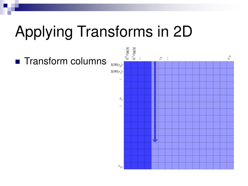 Applying Transforms in 2D