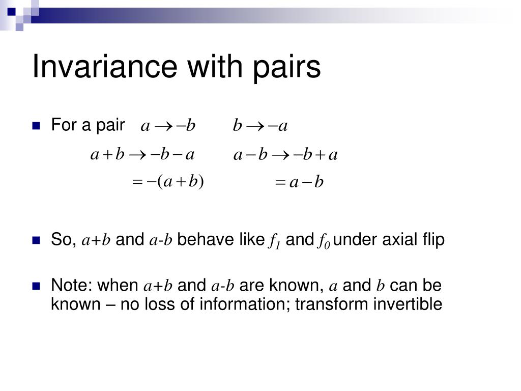 Invariance with pairs