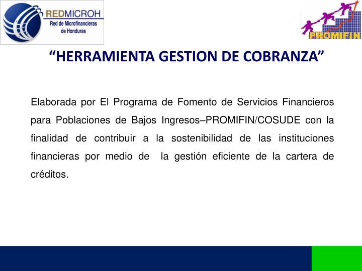 """""""HERRAMIENTA GESTION DE COBRANZA"""""""