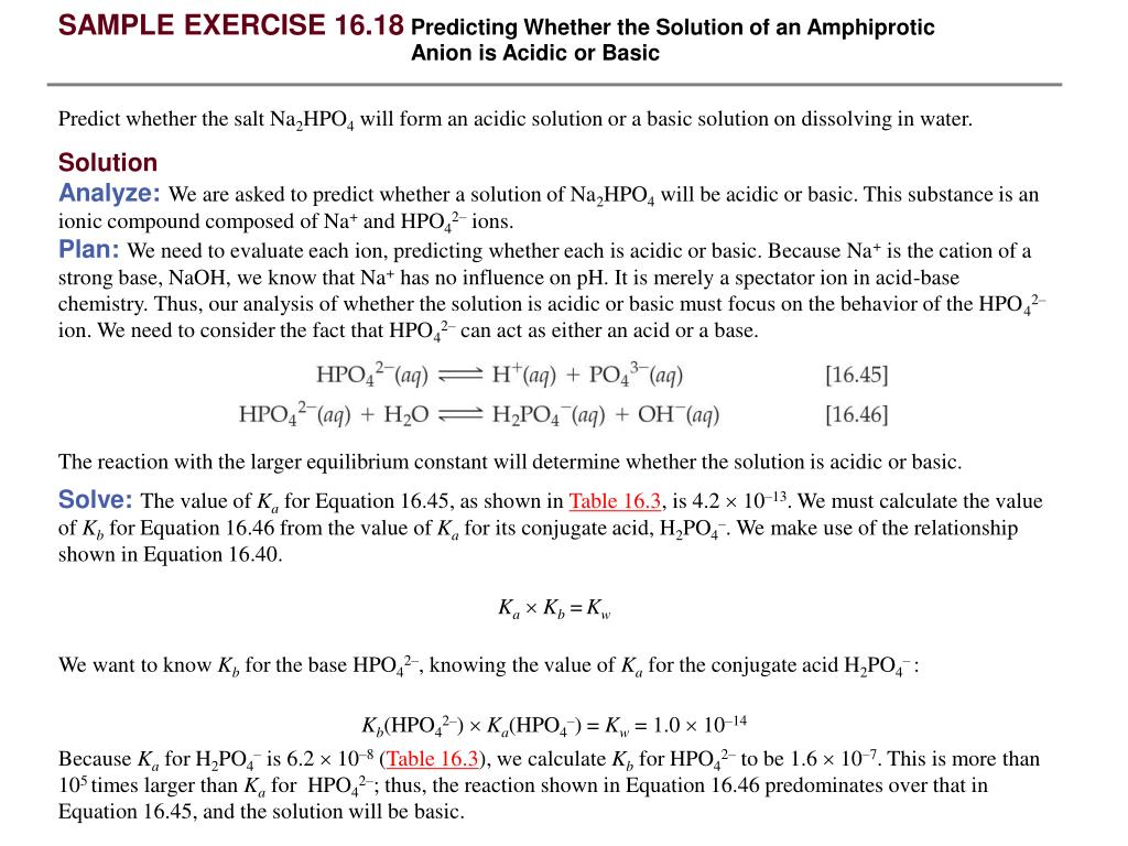 PPT - SAMPLE EXERCISE 16 16 Calculating K a or K b for a