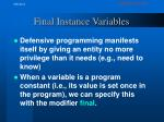 final instance variables