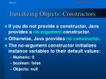 initializing objects constructors