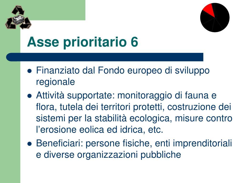 Asse prioritario 6