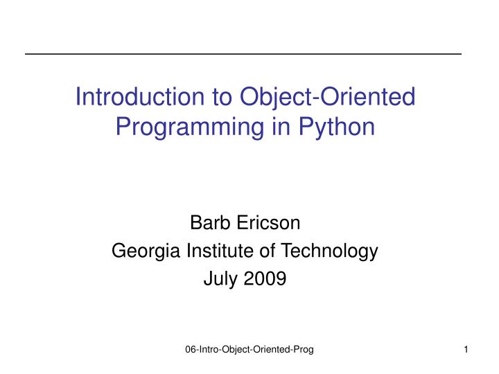 introduction to object oriented programming in python n.