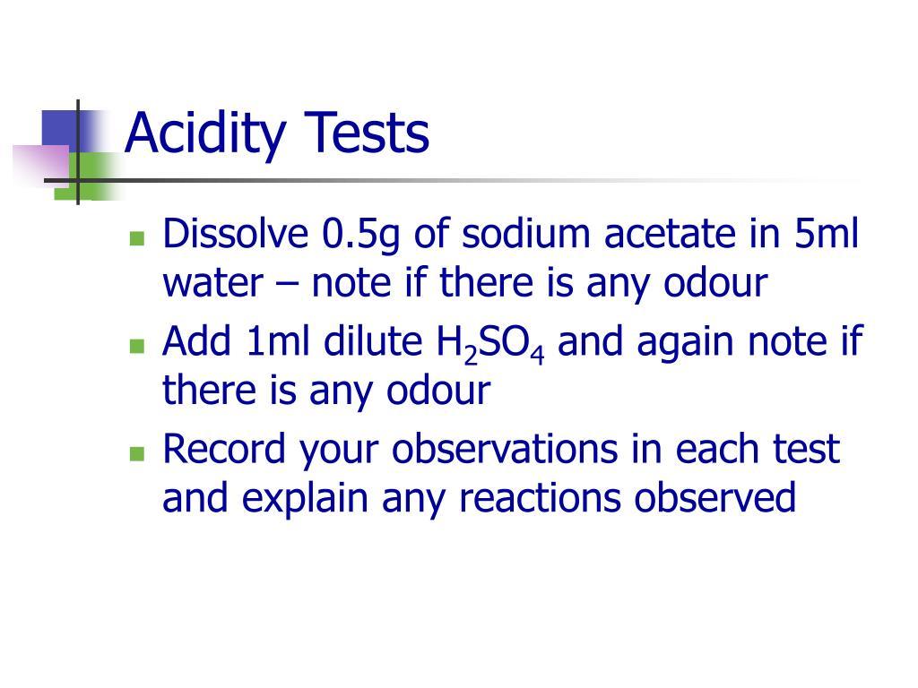 Acidity Tests