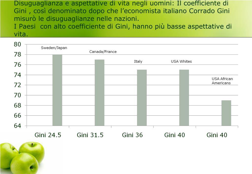 Disuguaglianza e aspettative di vita negli uomini: Il coefficiente di Gini , così denominato dopo che l'economista italiano Corrado Gini  misurò le disuguaglianze nelle nazioni.