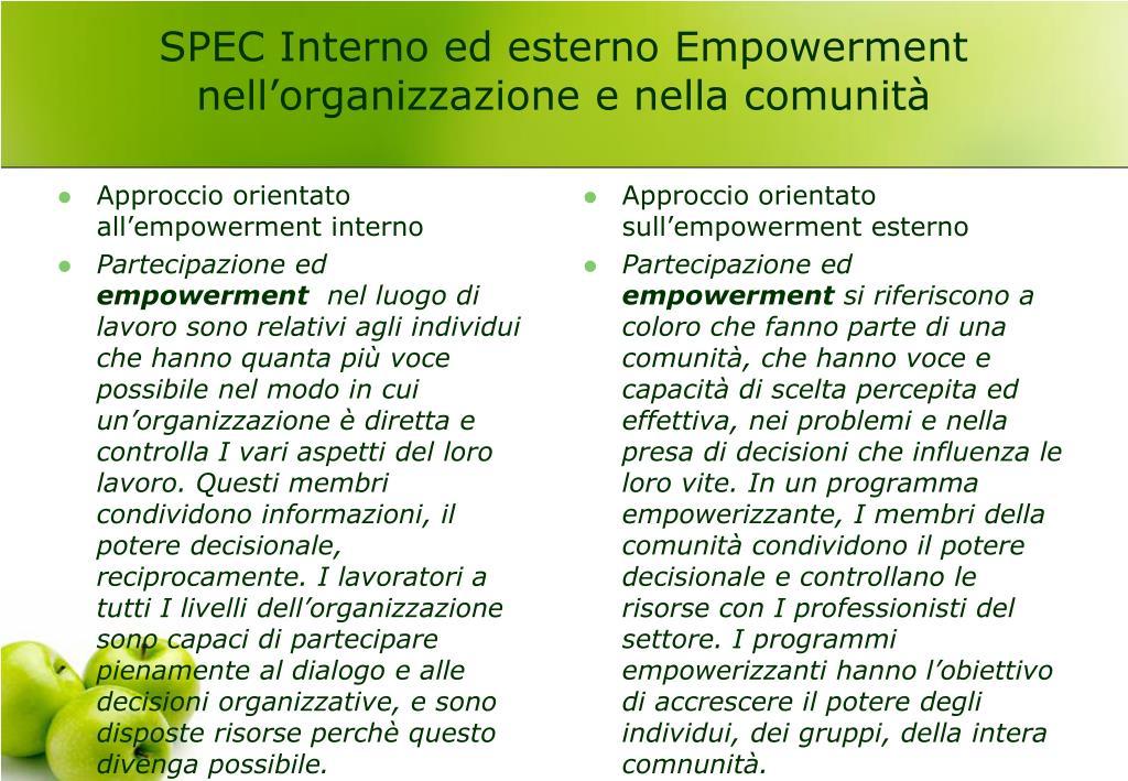 SPEC Interno ed esterno Empowerment nell'organizzazione e nella comunità