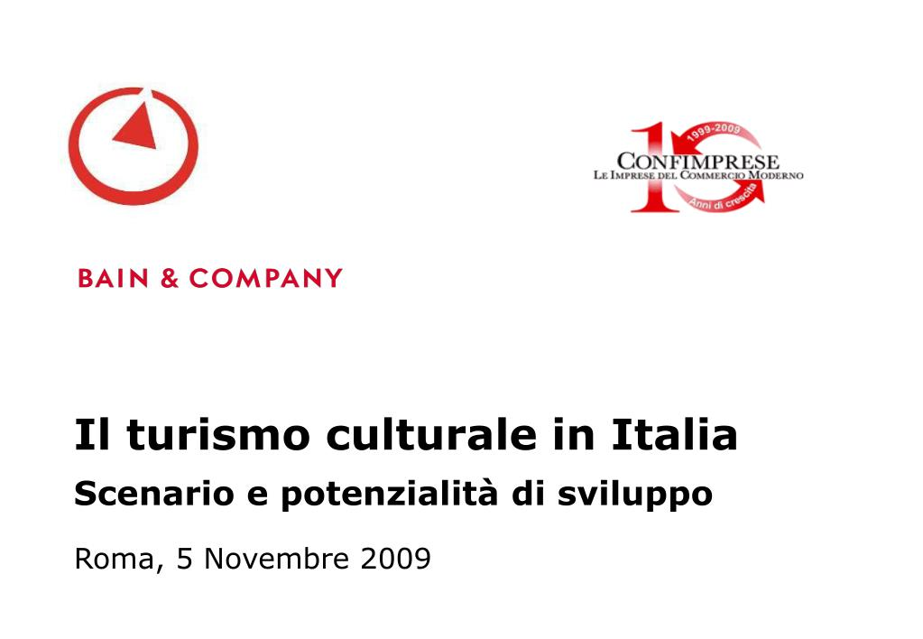 il turismo culturale in italia scenario e potenzialit di sviluppo l.
