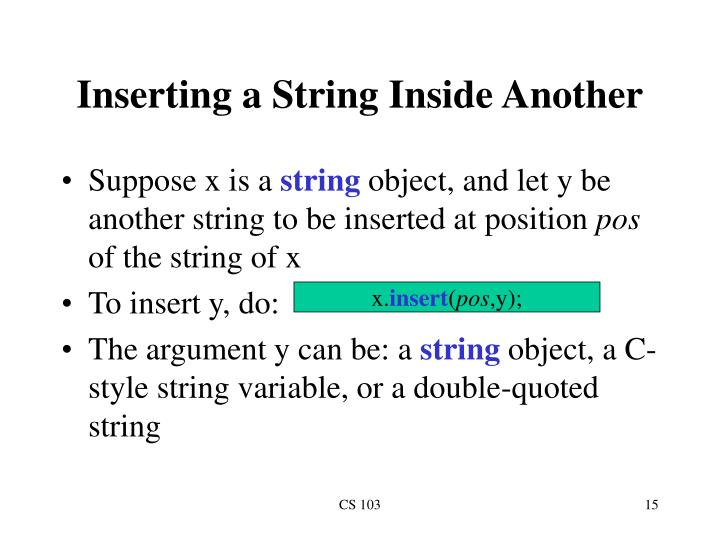 Inserting a String Inside Another