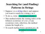 searching for and finding patterns in strings