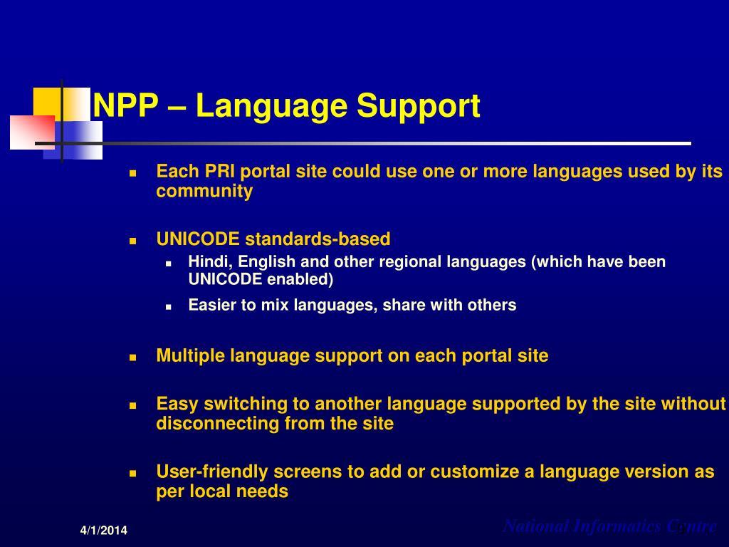 NPP – Language Support